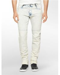 Calvin Klein Jeans Slim Leg Wipe Out Light Wash Jeans white - Lyst