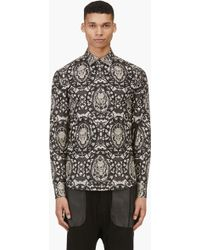 Alexander McQueen Black and Beige Skull Lace Shirt - Lyst