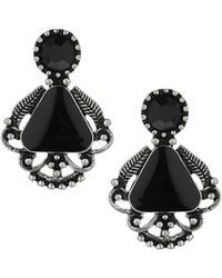 Topshop Womens Black Stone Drop Earrings Black - Lyst