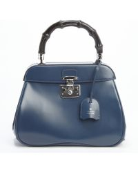 Gucci Deep Blue Leather Bamboo Handle Satchel - Lyst