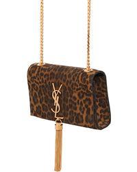 Saint Laurent Mini Monogramme Leopard Print Suede Bag - Lyst