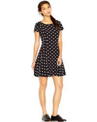 Maison Jules Cap-sleeve Lip-print Dress - Lyst