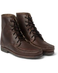 Quoddy - Perry Crepe Sole Pebble-Grain Leather Boots - Lyst