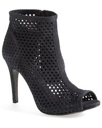 Pedro Garcia 'Sylvana' Perforated Suede Peep Toe Bootie - Lyst