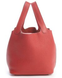 Hermes Preowned Red Picotin Togo Leather Bag - Lyst