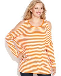 Michael Kors Michael Plus Size Coldshoulder Striped Top - Lyst
