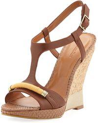 Rachel Roy Terese Combo Tstrap Wedge Sandal Natural 6 - Lyst