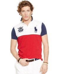 Polo Ralph Lauren Custom-Fit Color-Blocked Polo Shirt - Lyst