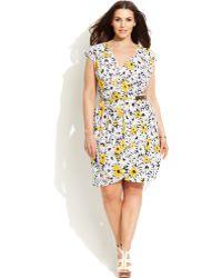 Michael Kors Michael Plus Size Printed Faux-Wrap Dress - Lyst