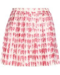 RED Valentino Pleated Silk Skirt - Lyst