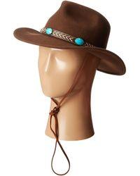 "San Diego Hat Company Wfh7928 3"" Brim Felt Cowboy W/ Faux Leather Band & Turquoise Stones - Lyst"