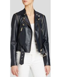 MICHAEL Michael Kors Convertible Leather Moto Jacket - Lyst