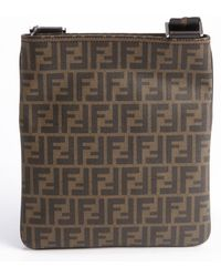 Fendi Brown Zucca Pattern Canvas Leather Accent Shoulder Bag - Lyst