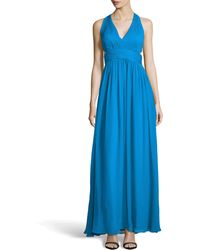 Aidan Mattox Chiffon Halter Gown with Side Cutouts - Lyst