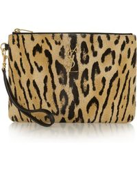 Saint Laurent Leopard-Print Calf Hair Pouch - Lyst