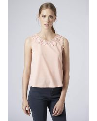 Topshop Petite Lace Collar Top  Pink - Lyst