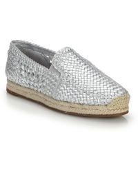 Michael Kors | Toni Woven Metallic Leather Espadrille Flats | Lyst