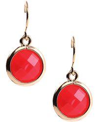Anne Klein Circular Coral Stone Drop Earrings - Lyst
