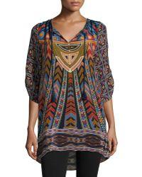 Tolani - Nima Silk Printed Long Tunic - Lyst