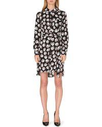 Diane Von Furstenberg Prita Stretchsilk Shirt Dress Blackgrey - Lyst