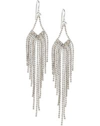 Steve Madden Silvertone Crystal and Chain Chandelier Earrings - Lyst