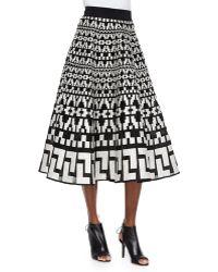DKNY Geometric-Pattern Full Midi Skirt - Lyst