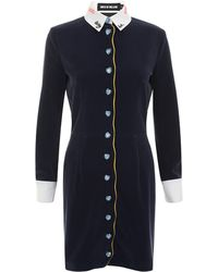 House of Holland Scallop Button Dress blue - Lyst
