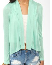 Forever 21 Pintucked Shawl Collar Cardigan - Lyst