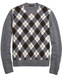 Brooks Brothers Merino Wool Argyle Crewneck Sweater - Lyst