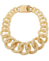 Tory Burch Monogram Light Horn Resin Chain Necklace - Lyst