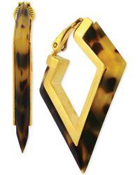 Vince Camuto - Goldtone Tortoise Angular Hoop Clipon Earrings - Lyst