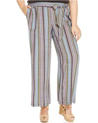 Jessica Simpson Plus Size Striped Wide-Leg Pants - Lyst