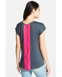Pleione Zip Back Tee With Woven Contrast pink - Lyst