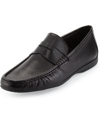 Bruno Magli Partie Perforated Penny Loafer - Lyst