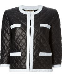Moschino Quilted Leather Jacket - Lyst