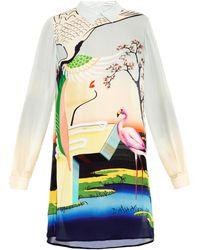 Mary Katrantzou Flamingo-print Silk Shirt Dress - Lyst