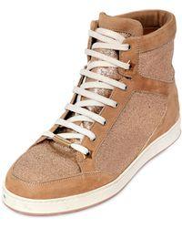 Jimmy Choo Glitter & Suede High Top Sneakers - Lyst