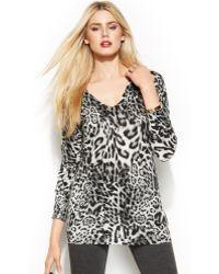 Michael Kors Michael Leopard-print V-neck Sweater - Lyst