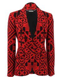 Alexander McQueen One Button Patchwork Blazer red - Lyst