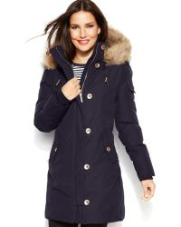 Michael Kors Hooded Faux-fur-trim Down Puffer Coat - Lyst