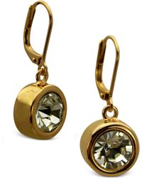 T Tahari Gold-Tone Bezel Crystal Signature Drop Earrings - Lyst