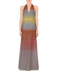 Missoni Halterneck Knitted Gown Multi - Lyst