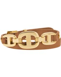 Michael Kors Gold-Tone And Leather Maritime Link Bracelet gold - Lyst