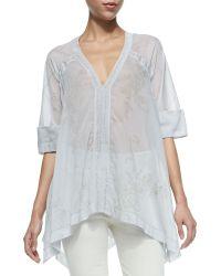 Donna Karan New York Half-sleeve Semisheer Floral Blouse - Lyst