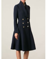 Alexander McQueen Flared Great Coat - Lyst