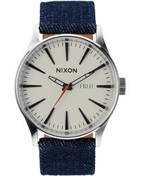 Nixon Sentry Leather Dark Denim And Cream Watch - Lyst
