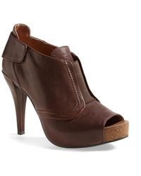 Vince Camuto 'Pernot' Peep Toe Bootie brown - Lyst