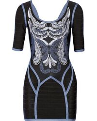 Hervé Léger Printed Bandage Mini Dress - Lyst