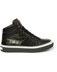 Jimmy Choo Belgravia Crocodileembossed Leather Hightop Sneakers - Lyst
