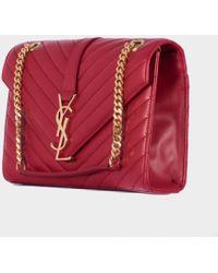 Saint Laurent Red Leather Medium Monogram Bag - Lyst
